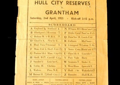 Hull City Reserves v Grantham 02.04.1955