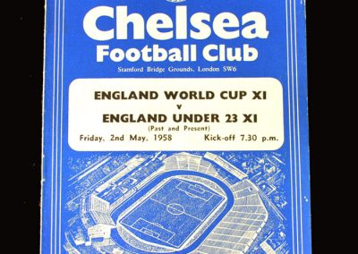 England World Cup 11 v England Unders 23s 02.05.1958