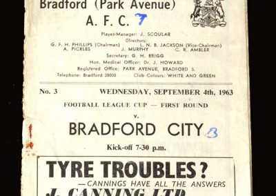 Bradford PA v Bradford City 04.09.1963 - League Cup 1st Round