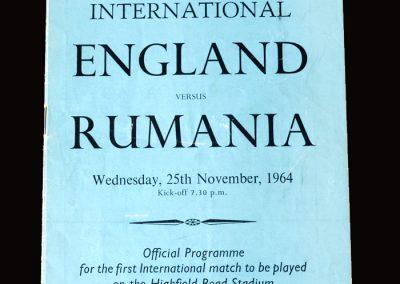 England v Roumania 25.11.1964 - Under 23