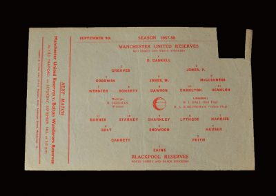 Man Utd Reserves v Blackpool Reserves 09.09.1957