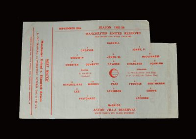 Man Utd Reserves v Aston Villa Reserves 28.09.1957