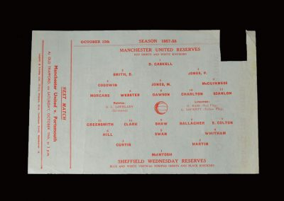 Man Utd Reserves v Sheff Wed Reserves 12.10.1957