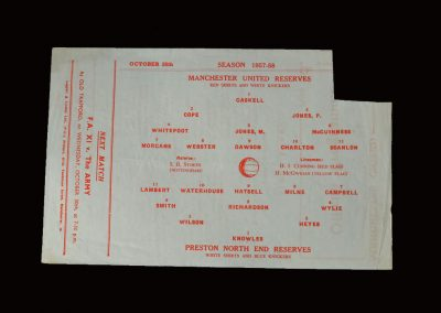 Man Utd Reserves v Preston Reserves 26.10.1957
