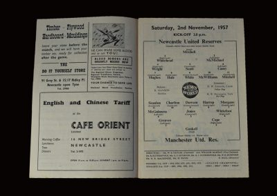 Man Utd Reserves v Newcastle Reserves 02.11.1957