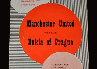 Man Utd v Dukla Prague 20.11.1957 - European Cup 2nd Round 1st Leg