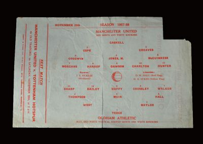 Man Utd Reserves v Oldham Reserves 25.11.1957 (Manchester Senior Cup Semi Final)