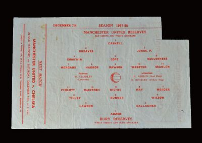 Man Utd Reserves v Bury Reserves 07.12.1957