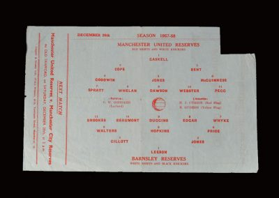 Man Utd Reserves v Barnsley Reserves 26.12.1957