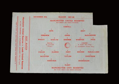 Man Utd Reserves v Man City Reserves 28.12.1957