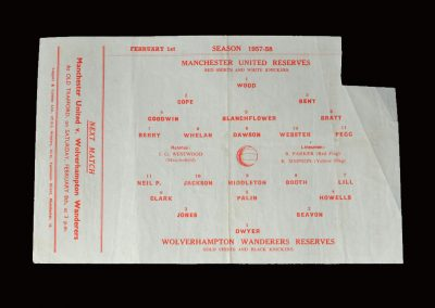 Man Utd Reserves v Wolves Reserves 01.02.1958