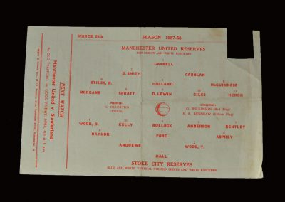 Man Utd Reserves v Stoke City Reserves 29.03.1958