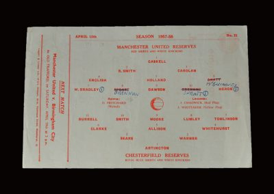 Man Utd Reserves v Chesterfield Reserves 12.04.1958