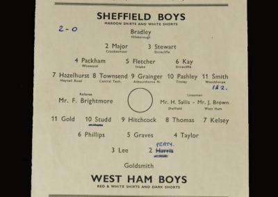 Sheffield Boys v West Ham Boys 15.04.1952 (School boy honours for Tony Kay)