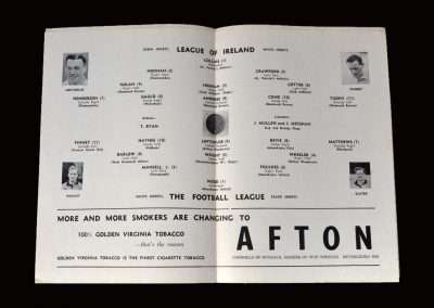 The League of Ireland v The Football League 22.09.1954 (Jimmy Gauld left his native Aberdeen, became the leading Irish goalscorer and got representative honours)