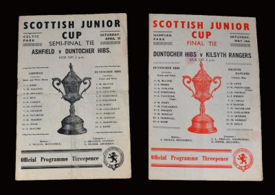 Ashfield v Duntocher 30.04.1955 - Scottish Junior Cup Semi Final (a young Dick Beattie in Goal) | Duntocher v Kilsyth 14.05.1955 - Junior Cup Final