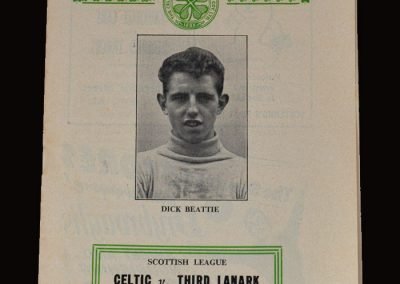 Celtic v Third Lanark 25.10.1958 (Dick on the front cover)