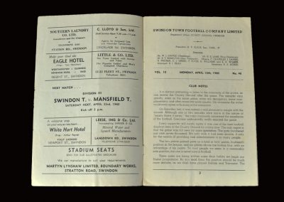 Swindon v Tranmere 18.04.1960 (nearly threw it away)