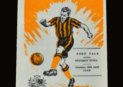 "Port Vale v Swindon 30.04.1960 (Count 1 of the 1st indictment. 6-1 defeat at the end of the season. ""it didn't seem such a terrible thing to do"" said Jimmy)"