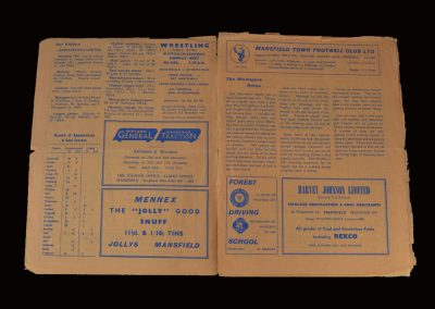 Mansfield v Hartlepool 02.12.1961 (Jimmy has broken his leg)