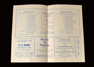 Matlock v Blackburn 23.11.1974 - FA Cup 1st Round (Peter as manager and Bronco on the bench)