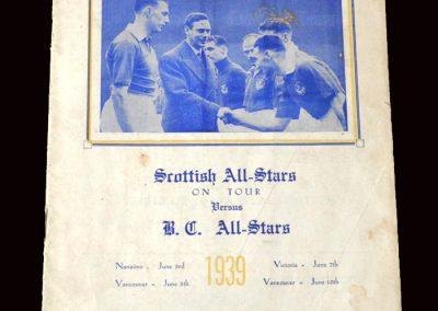 Vancouver BC All Stars v Scotland 05.06.1939