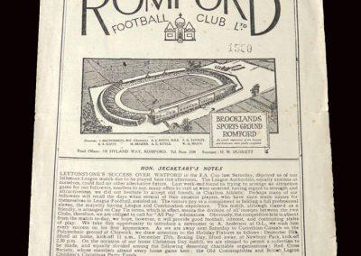 Romford v Charlton Reserves 11.12.1948