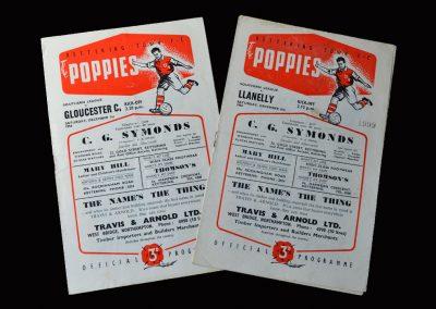 Kettering v Gloucester 01.12.1956 | Kettering Llanelly 08.12.1956