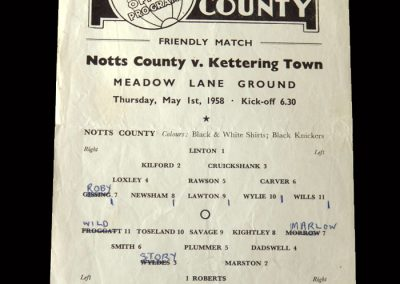 Kettering v Notts County 01.05.1958 - a match arranged for his transfer fee but he was sacked a few days later