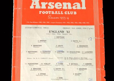 England 11 v Young England 30.04.1954
