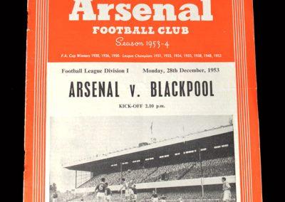 Arsenal v Blackpool 28.12.1953