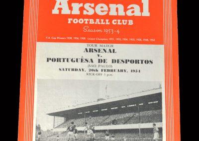 Arsenal v Portuguesa 20.02.1954 - Friendly