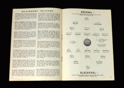 Arsenal v Blackpool 07.10.1961 (last game for Blackpool)