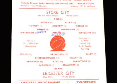 Stoke v Leicester 15.01.1962 - FA Cup 3rd Round