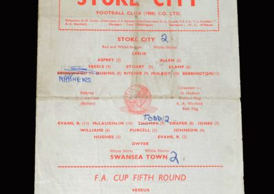 Stoke v Swansea 15.02.1964 - FA Cup 5th Round (Stan is the oldest scorer in the FA Cup)