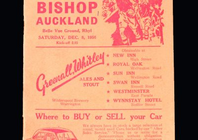 Rhyl v Bishop Auckland 08.12.1956 - FA Cup 2nd Round