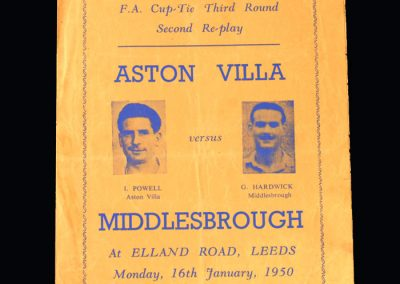 Aston Villa v Middlesbrough 16.01.1950 - FA Cup 3rd Round 2nd Replay