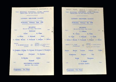 Reading Reserves v Luton Reserves 08.02.1950 | Reading Reserves v Southend Reserves 22.02.1950