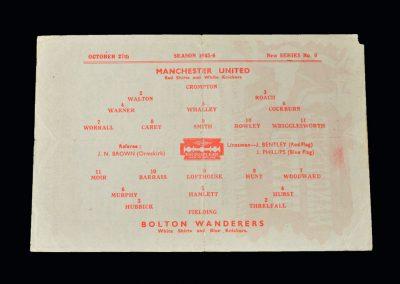 Man Utd v Bolton 27.10.1945 (Busby 1st Game)