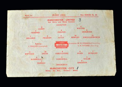 Man Utd v Man City 01.05.1946 - Lancashire Cup Semi Final