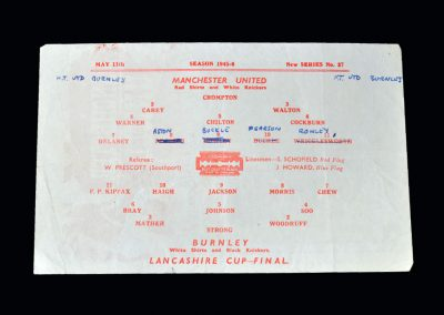 Man Utd v Burnley 11.05.1946 - Lancashire Cup Final