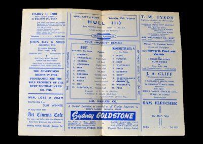 Man Utd v Bury 04.10.1955 - Friendly