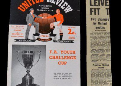 Man Utd Youth v Bolton Youth 18.04.1956 - FA Youth Cup Semi Final