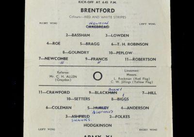 Brentford v Army 11 25.04.1956