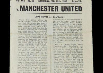 Man Utd v Charlton 25.02.1950