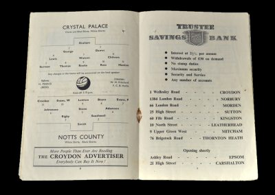 Notts County v Crystal Palace 10.09.1949