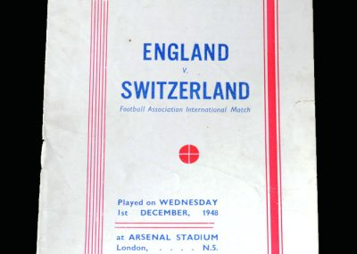 England v Switzerland 02.12.1948