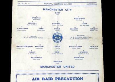 Man City v Man Utd 25.12.1939