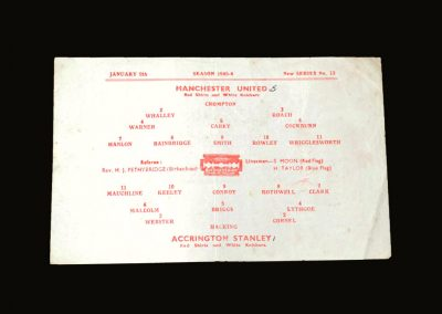 Man Utd v Accrington Stanley 09.01.1946 - FA Cup 3rd Round