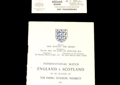 England v Scotland 02.04.1955 - Programme of Arrangements and Dressing Room Pass